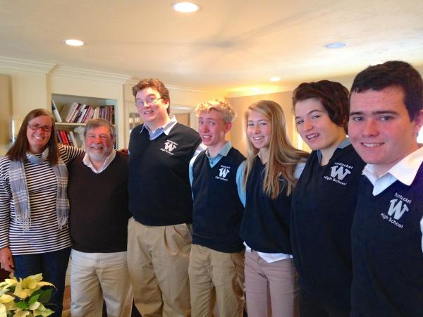 """Students from Nantucket High School on their way to Boston to compete - for the first time - on WGBH's """"High School Quiz Show"""""""