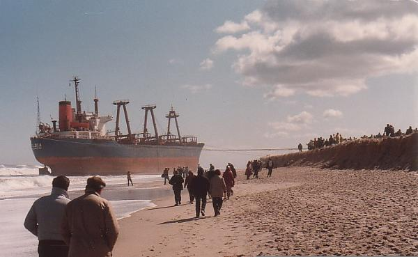 On March 29, 1984, the 451-foot Maltese-registered freighter Eldia went aground in Orleans, where it stayed beached for nearly two months.