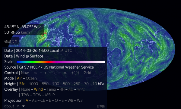 A visualization of global weather conditions, forecast by supercomputers updated every three hours!