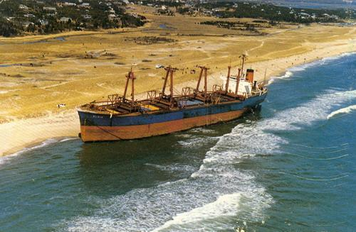The Eldia was aground high on the beach for 51 days before salvagers managed to remove it.