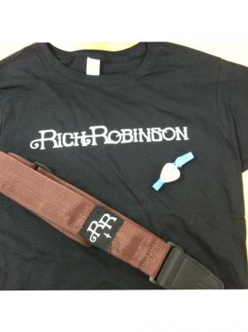 A Rich Robinson t-shirt, guitar strap, and guitar pick bracelet are all part of the giveaway package!