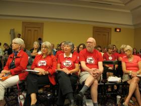 Common Core repeal supporters at state hearing