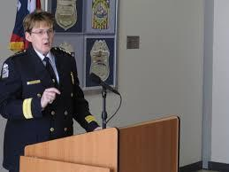 Columbus Police Chief Kim Jacobs at March press conference, detailing crime lab mistake