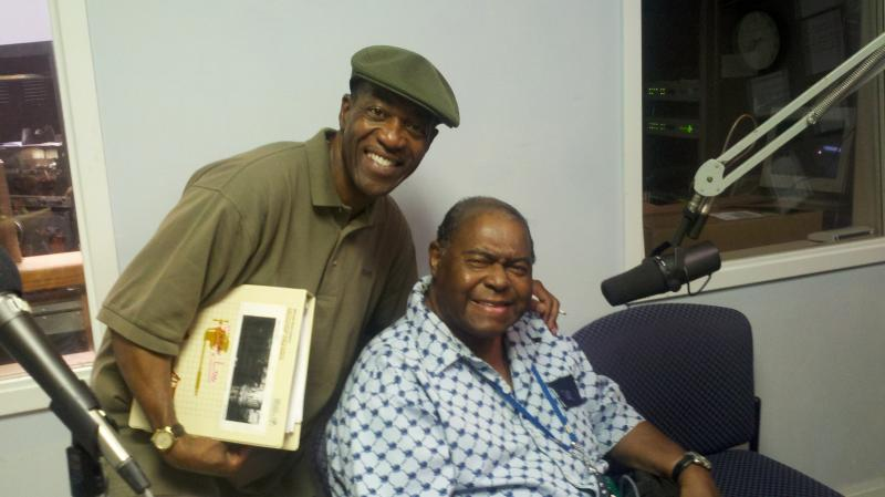 Musicologist and Jazz Sunday Host Jack Marchbanks standing with saxophonist Gene Walker, honored for his career on the Lincoln Theatre Walk of Fame. Walker sat in with the guys on July 22 and also spoke with WCBE before the induction ceremony.