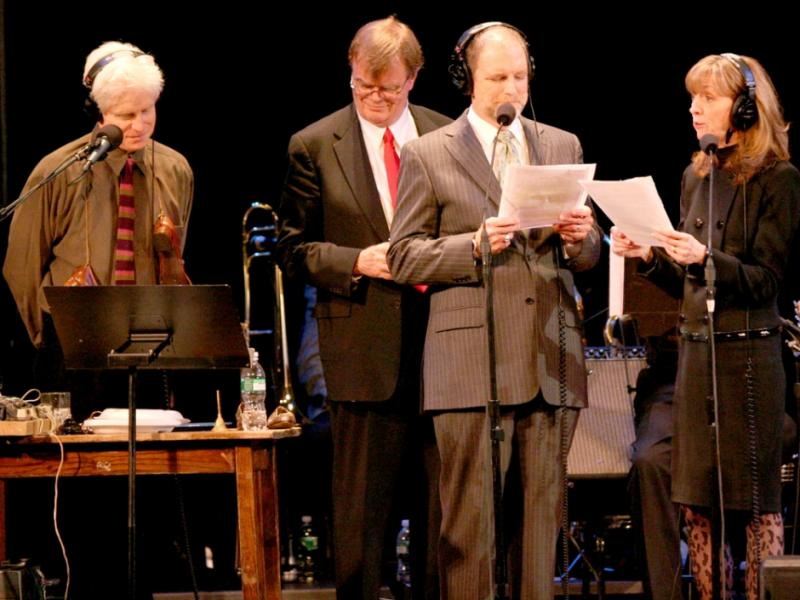 The cast of A Prairie Home Companion, including Tim Russell (third from left)