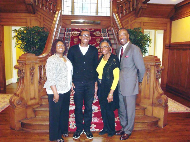 "(L to R): Tatum ""Tate"" Flemister, his mother, Mrs. Cerina Flemister; Ms. Candice Kirk-Howell and Rahsaan Roland Kirk (RRK) Music Scholarship Co-Founder Jack Marchbanks."