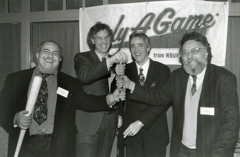 Celebrating Only A Game's new spot in the Saturday lineup: from left Ray Magliozzi, Bill Littlefield, Scott Simon, and Tom Magliozzi.