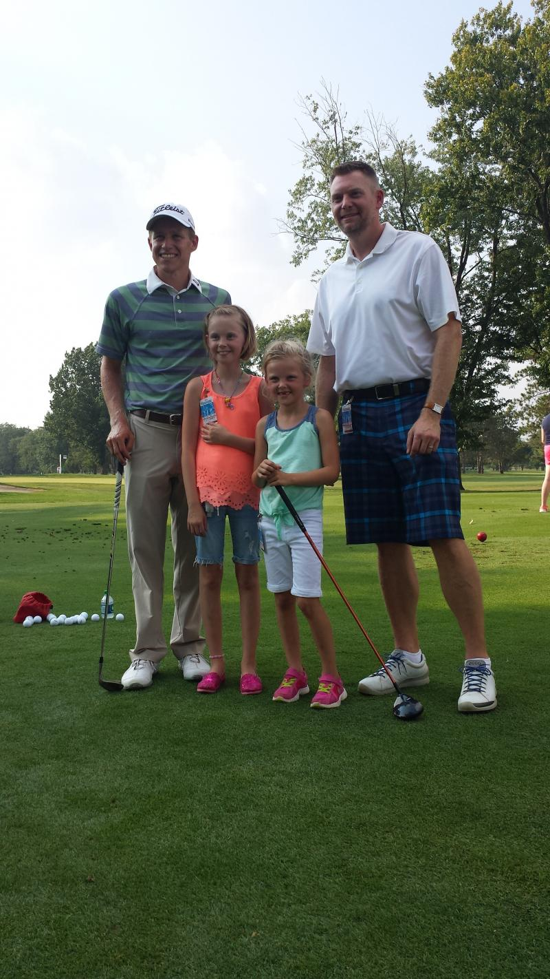Golfer Peter Malnati, Craig Richardson along with daughters Madeline and Elaina