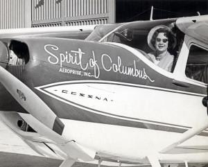 "Jerrie Mock in the ""Spirit of columbus"""