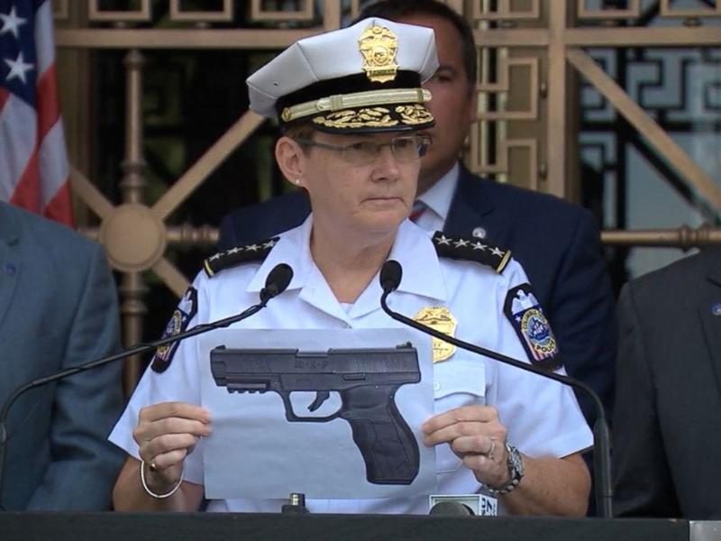 Chief Jacobs holds picture of weapon similar to the one found at the scene