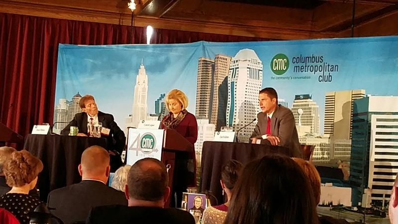 Ron O'Brien (left) and Zach Klein at the CMC debate with moderator Carol Luper