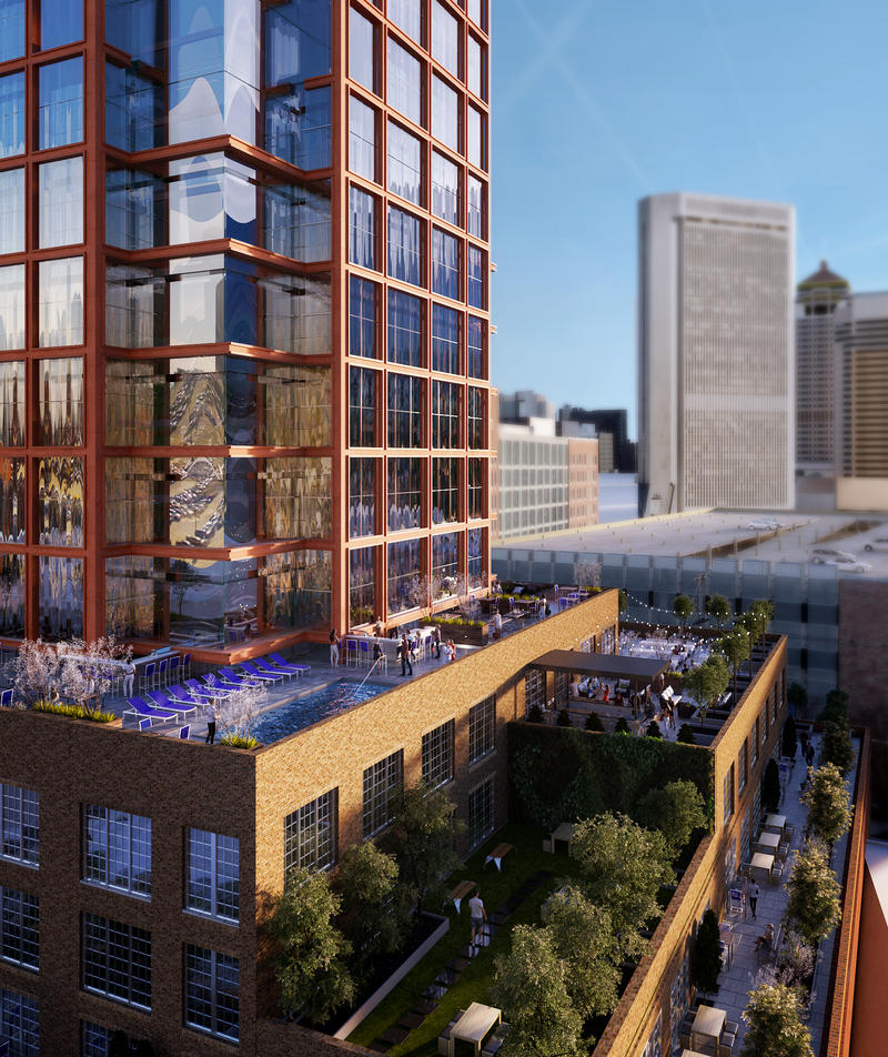 Rendering with elevated view from the south