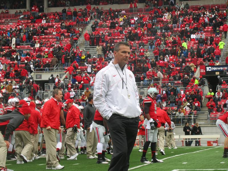 Urban Meyer moments before kickoff of his first Michigan game as Buckeye head coach in 2012