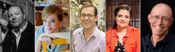(left to right) Mario Batali, Pati Jinich, Ted Allen, Alexandra Guarnaschelli and Michael Pollan.