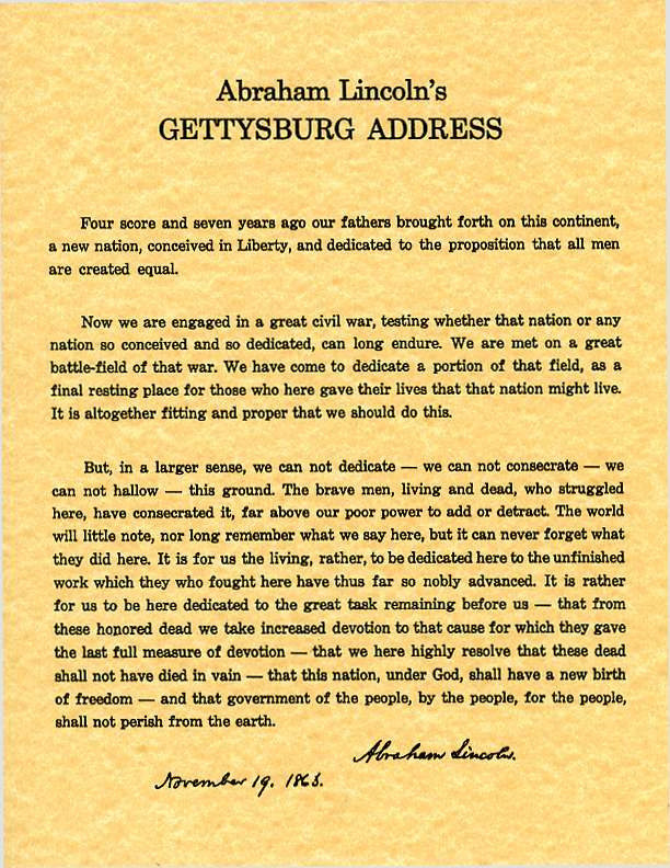 What is thesis in writing gettysburg address