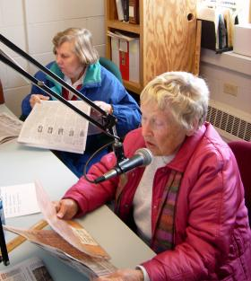 Volunteers read for the print handicapped.  To become a reader call (309) 677-3585.
