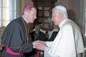 Pope Benedict XVI greets Bishop Thomas Paprocki of Springfield during a Feb. 9, 2012