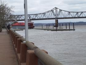 Water levels on the Illinois River in front of River Station on Friday afternoon.