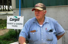 """Hog farmer Bob Young had to overcome lawsuits from his neighbors before buidling his confinement facility near Rochester, Ill. Says Young: """"There are a few (city people) that come out here and think we got to change everything so we can make it city living. And that won't work."""""""