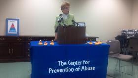 Illinois Comptroller Judy Baar Topinka speaking in Peoria Monday, July 15, 2013.