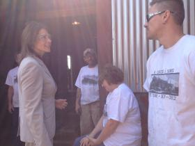 17th District Congresswoman Cheri Bustos meets with A. Lucas & Sons employees.