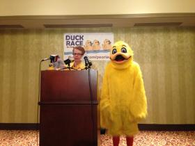 Center for Prevention of Abuse Executive Director Martha Herm kicks off sale of ducks for annual Duck Race