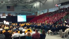 2,500 staff and teachers at District 150 gather for the annual Back-to-School pep rally at Bradley University's Renaissance Coliseum.