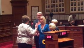 Beth Jensen is sworn-in as the newest member of the Peoria City Council Tuesday night.  She fills the remainder of Gary Sandberg's term.