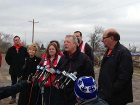 U.S. Senator Dick Durbin speaks after touring devastated community of Washington