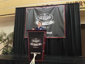 Louisville Slugger's VP of Marketing, Kyle Schlegel, speaking at a press conference announcing the company is partnering to build a new Peoria sports complex.