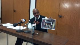 Chief Phillip Maclin handles fire prevention for the Peoria Fire Department. He's holding up the picture of the damage caused Wednesday at a West Ann residence while the maintenance person tried to thaw frozen pipes.