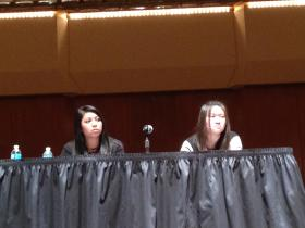 University of Illinois students Kimberly Arquines and Jennifer Sun attend a forum on digital hate and civil discourse on Feb. 6, 2014 on the U of I's Urbana campus. Arquines was one of the students who posted personal attacks on Twitter last month against Chancellor Phyllis Wise.