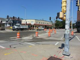 Site of water main break at Main and University in September.