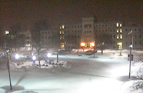 A webcam image of Bradley Hall at Bradley University after Saturday night's snowfall.