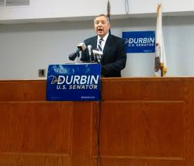Sen. Dick Durbin-D Il, speaks at the Peoria Labor Temple, Thursday, March 20, 2014.