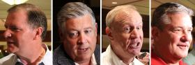 The men seeking the Republican nomination for governor of Illinois: state Sens. Kirk Dillard and Bill Brady, investor Bruce Rauner, and state Treasurer Dan Rutherford.