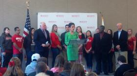 BU President Joanne Glasser speaks during Govern Pat Quinn's campus visit.