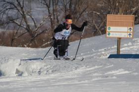 Tatyana McFadden skiing in the January 2013 Nordic Skiing Nationals at Soldier Hollow in Midway, Utah.