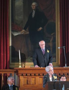 Doris Fogel, in foreground, recounts her childhood as a refugee from the Nazis, spent among 20,000 Jews in the Shanghai ghetto. Behind her is Gov. Pat Quinn. The annual Holocaust Memorial Ceremony took place in the House chamber of the Old State Capitol in Springfield.