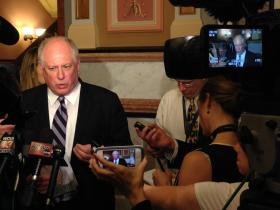 Gov. Pat Quinn speaks with reporters Monday in the Capitol after meeting with House Democrats for more than two-and-a-half hours.