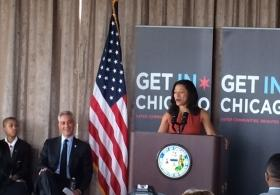 Toni Irving, the head of Get In Chicago, announces the 11 winners of grant applications Wednesday to mentor and give therapy to Chicago youth at a new conference with Mayor Rahm Emanuel. Irving had previously run a similar program for the State of Illinois that's now under investigation.