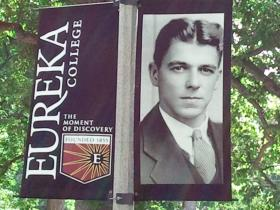 The banner of a young Ronald Reagan hangs at Eureka College, June 5, 2014.