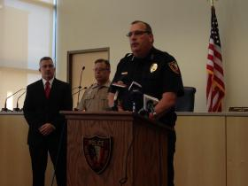 East Peoria Police Chief Dick Ganschow holds media briefing on June 14th murders at 5th Quarter Sports Bar.