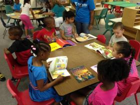 Students at Valeska Hinton Early Childhood Education Center read their books,