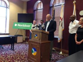 Peoria City Manager Patrick Urich speaks at press conference about the website, Nextdoor.com.