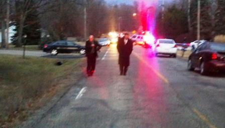 Peoria Police Chief Steve Settingsgaard and Captian Mike Scally at the February 14th crime scene at 700 N. Mossville Rd.
