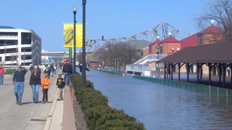 Peoria's Water Street at River Station looking toward the Murray Baker Bridge