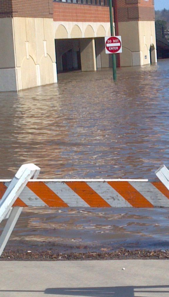 Parking under water at the Heartland Partnership office pad