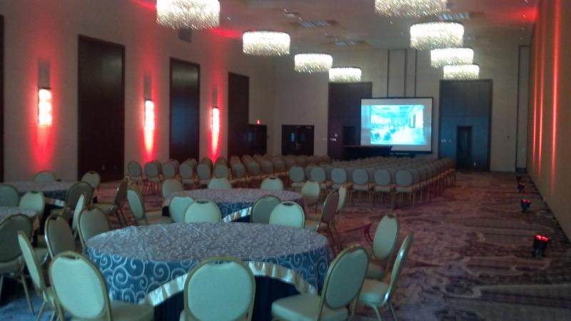 Part of the Pere Marriott ballroom set-up for a meeting