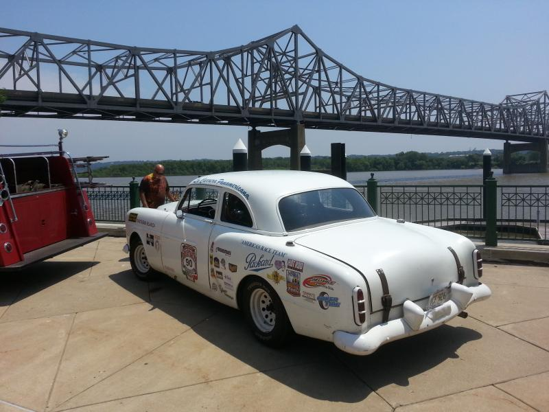 A 1950's Packard Race Car Cools Off By the Illinois River